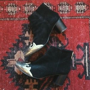 Free People Black Suede Ankle Boot